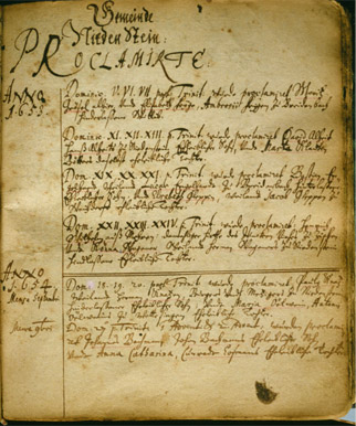 The oldest known record of the Knatz family is found on the first page of the Niedenstein Church Book. The marriage of Paulus Knatz and Maria Oelwin, 1654. Note the faint red pencil line under the name Knatz in the second line of the first entry for 1654.